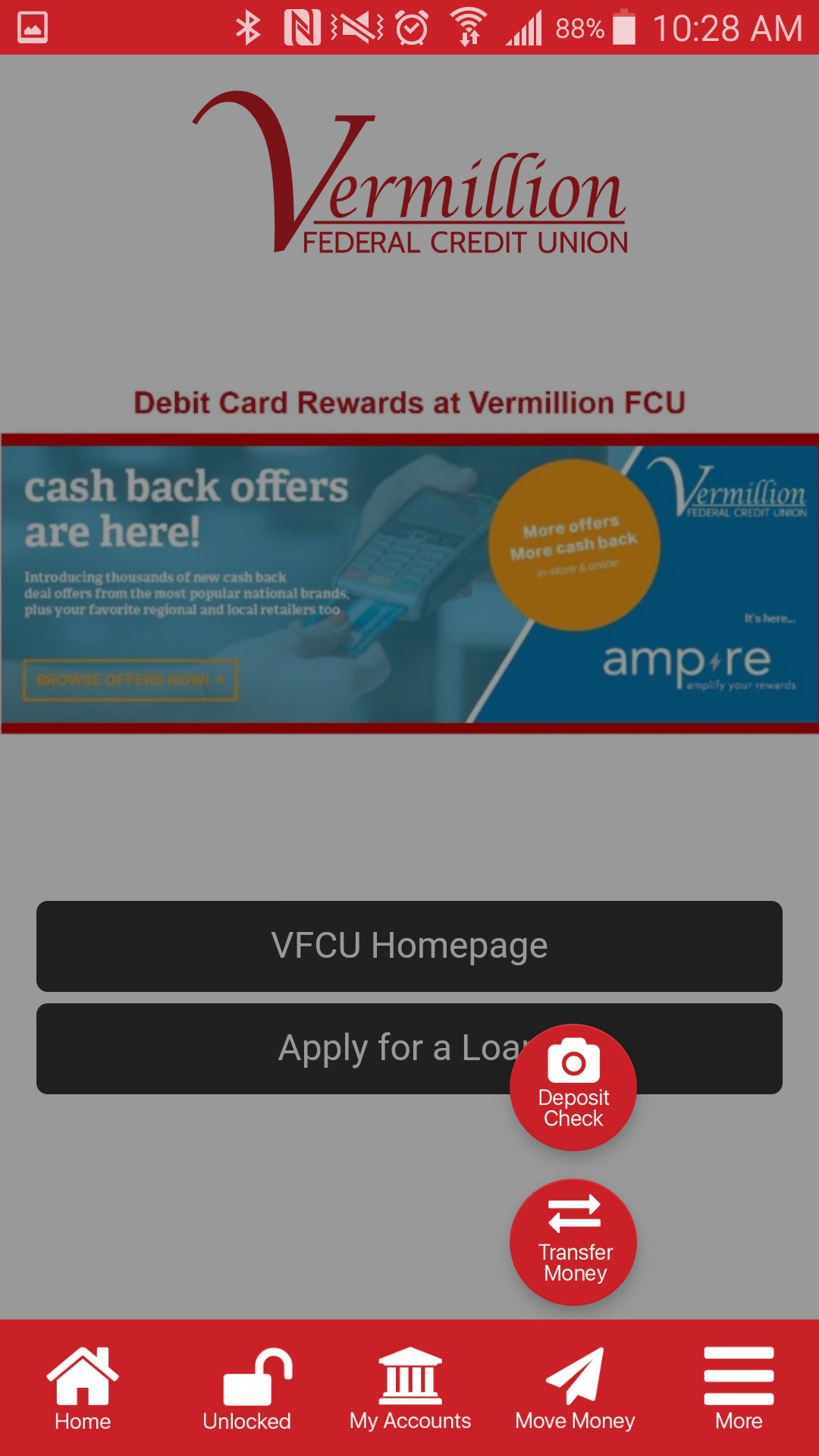 Screenshot of Vermillion FCU mobile app
